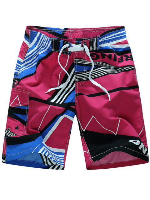Color Splicing Sports Beach Shorts - RED 3XL