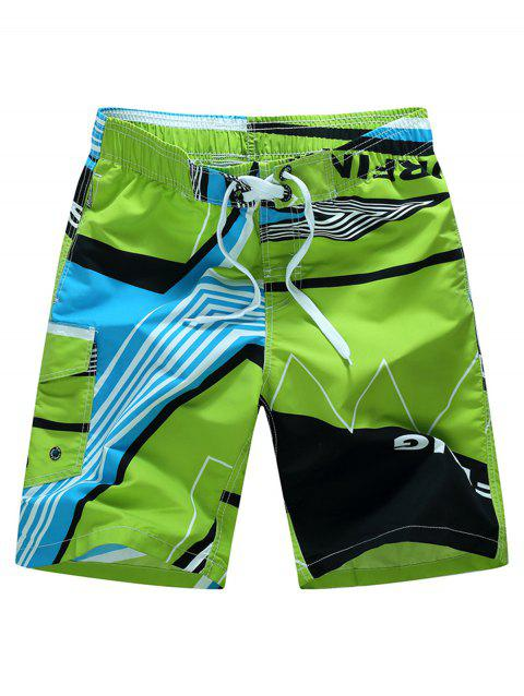Color Splicing Sports Beach Shorts - GREEN 4XL