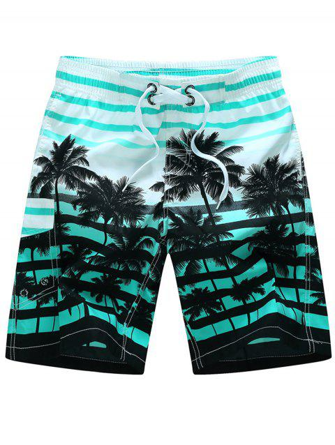 Plam Tree Striped Hawaiian Shorts - GREEN 3XL