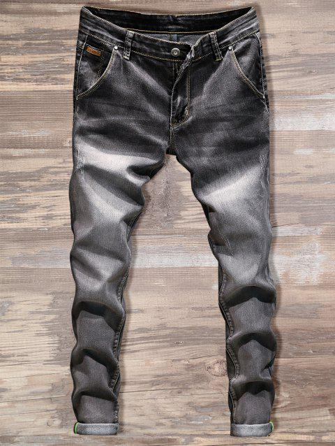 Casual Slim Fit Straight Leg Jeans - GRAY 40