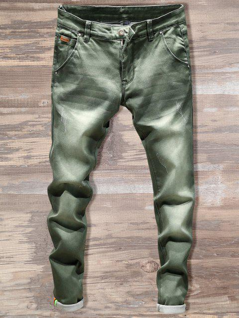 Casual Slim Fit Straight Leg Jeans - GREEN 40