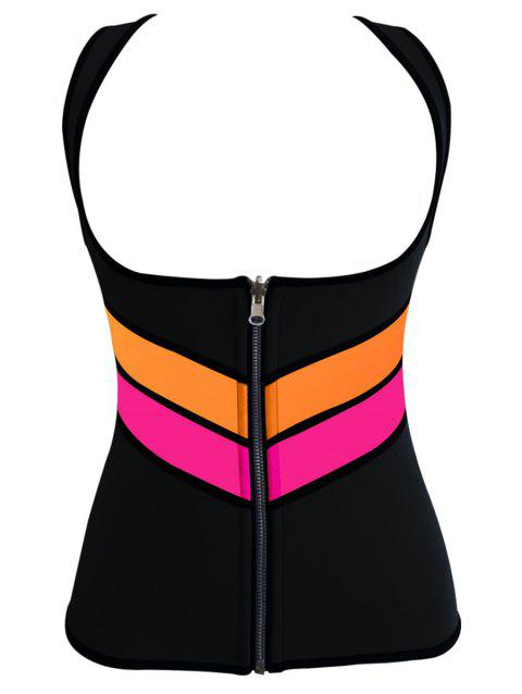 Plus Size Underbust Color Block Training Vest - BLACK 5XL