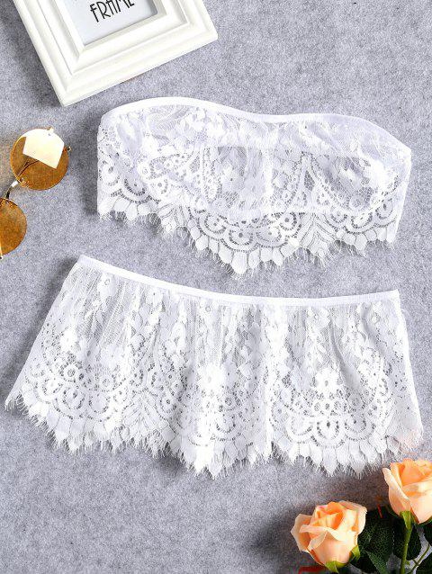 Sheer Lace Strapless Lingerie Set - WHITE L