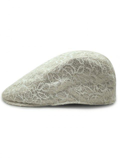 Vintage Floral Pattern Lace Crochet Beret - OFF WHITE