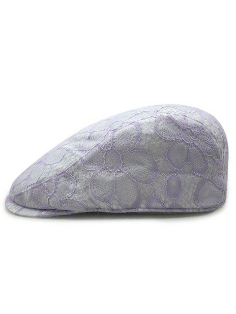 Vintage Floral Pattern Lace Crochet Beret - LIGHT PURPLE