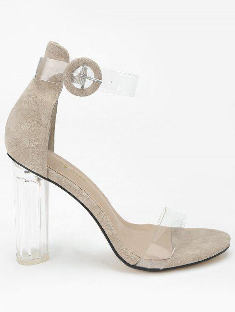 Lucite Heel Ankle Strap Buckled Sandals - APRICOT 40