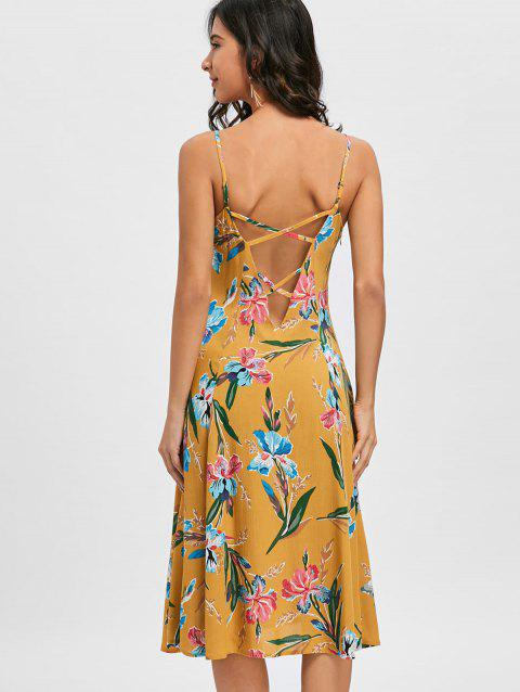 Backless Spaghetti Strap Floral Print Dress - GINGER 2XL