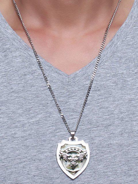 Camouflage Fly Eagle Star Shield Collarbone Necklace - SILVER