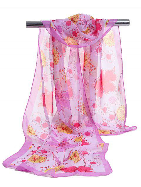 Blooming Floral Pattern Lightweight Chiffon Scarf - PINK