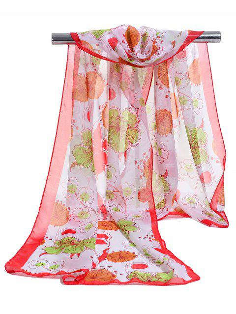 Blooming Floral Pattern Lightweight Chiffon Scarf - RED