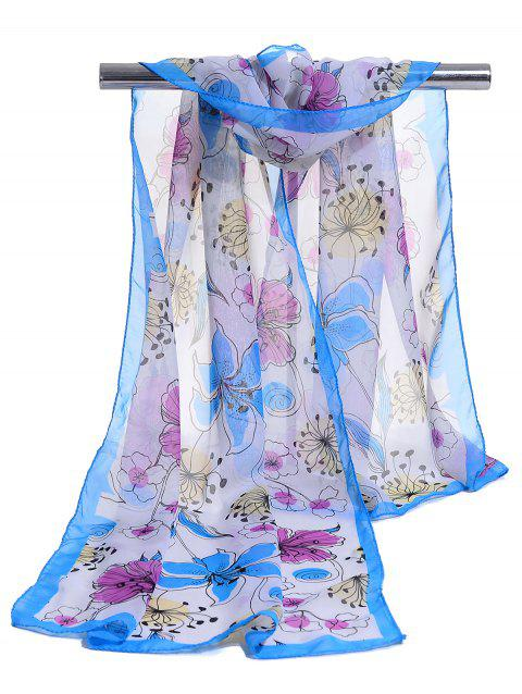Blooming Floral Pattern Lightweight Chiffon Scarf - BLUE