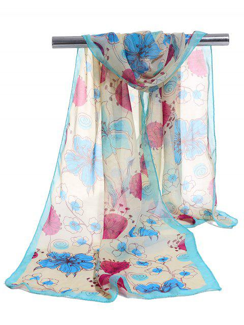 Blooming Floral Pattern Lightweight Chiffon Scarf - LIGHT BLUE