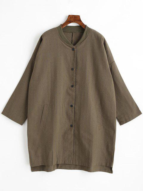 Striped Plus Size Button Up Coat - BROWN 2XL