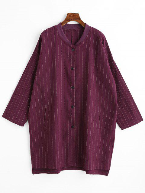 Striped Plus Size Button Up Coat - PURPLISH RED 2XL