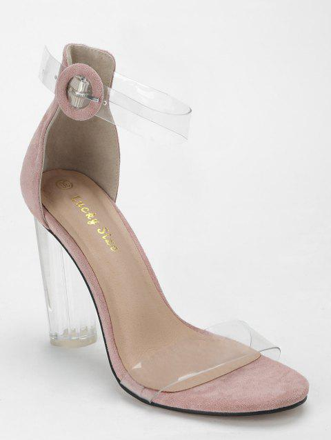 Lucite Heel Ankle Strap Buckled Sandals - PINK 35