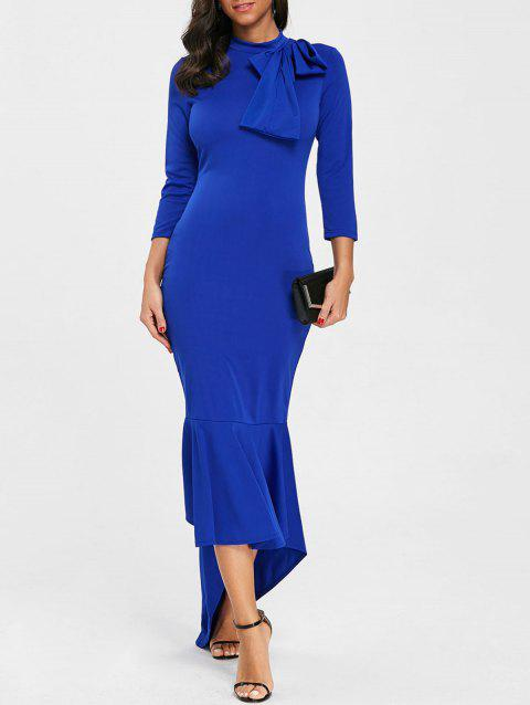 Bowknot Mock Neck High Low Mermaid Dress - BLUE M