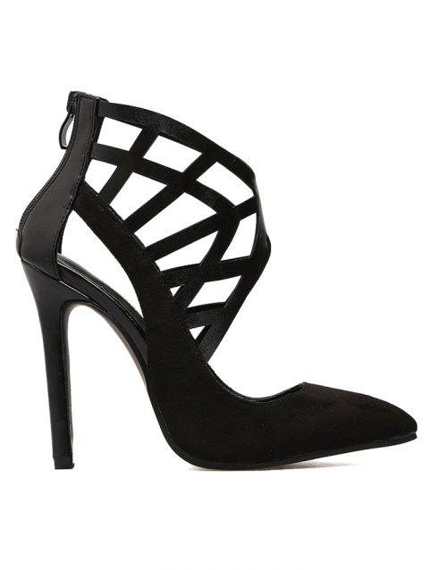 Hollow Out Pointed Toe Heels - BLACK 40