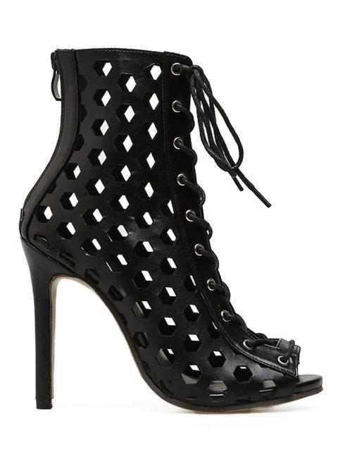 Lace Up Hollow Out Bootie Sandals - BLACK 40