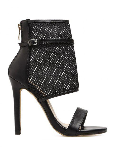 Gladiator Buckle Strap High Heel Sandals - BLACK 36