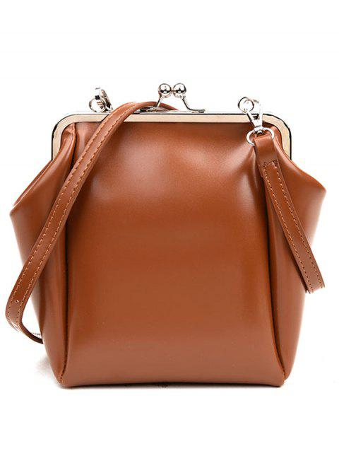 Faux Leather Metal Crossbody Bag - BROWN