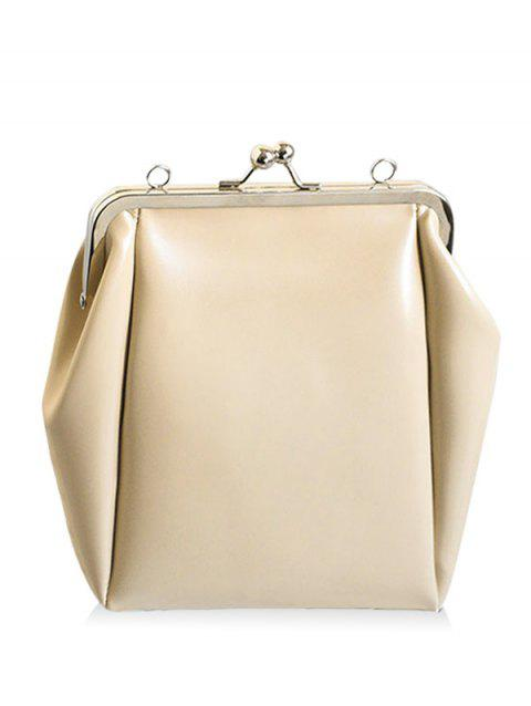 Faux Leather Metal Crossbody Bag - OFF WHITE