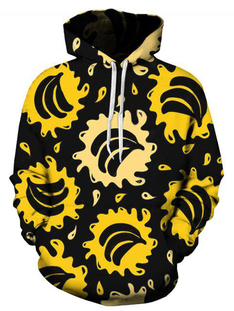 Bananas Splatter Pattern Pullover Hoodie - COLORMIX XL