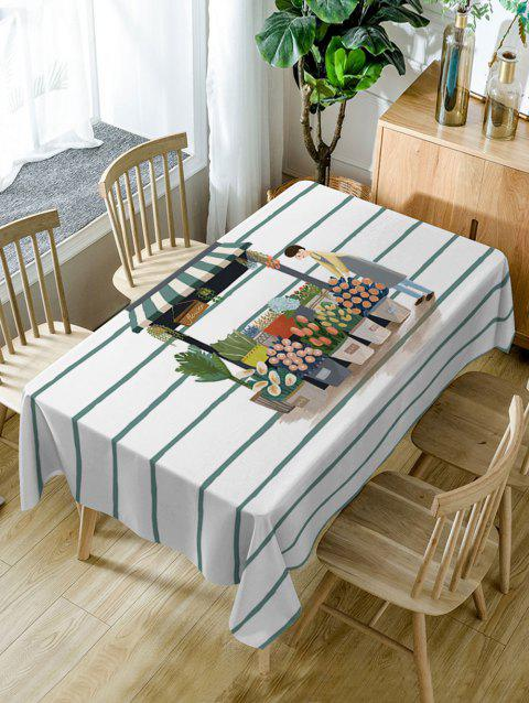 Cartoon Florist Shop Print Fabric Table Cloth - WHITE W54 INCH * L54 INCH
