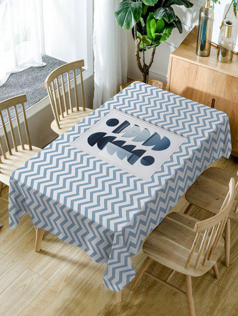 Zig Zag Pattern Waterproof Table Cloth - STONE BLUE W54 INCH * L54 INCH