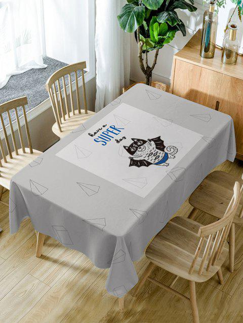 Waterproof Cat with Wing Letter Print Table Cloth - GRAY W54 INCH * L72 INCH