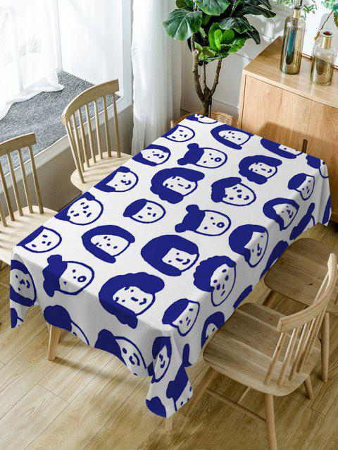 Cartoon Family Head Print Fabric Table Cloth - DEEP BLUE W60 INCH * L84 INCH