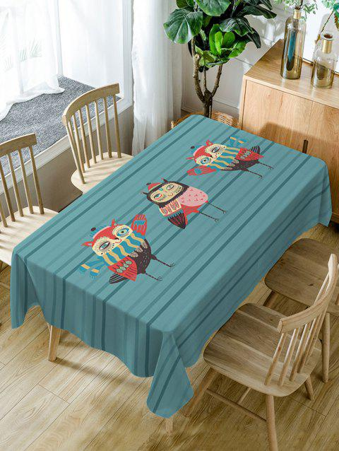 Cartoon Owls Print Waterproof Table Cloth - BLUE GREEN W54 INCH * L54 INCH