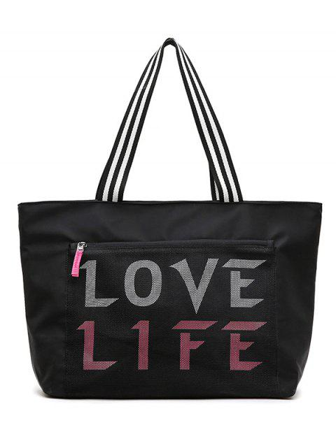 Letter Print Tote Bag - BLACK