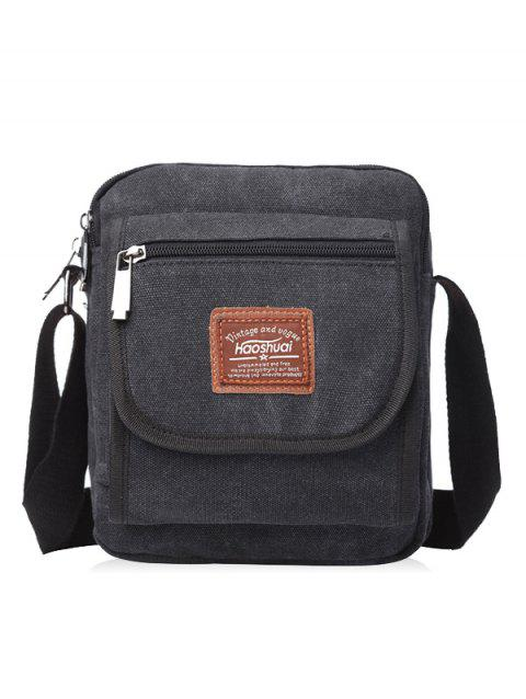 Zip Canvas Sling Bag - BLACK