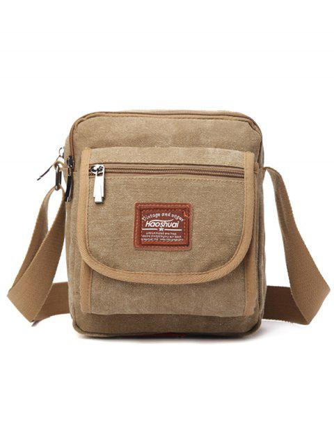 Zip Canvas Sling Bag - KHAKI