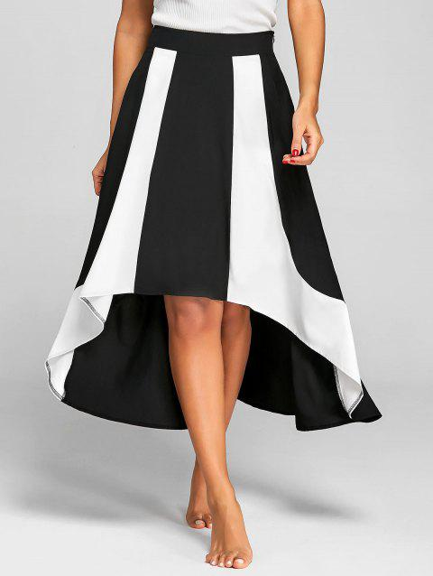 Asymmetric High Waist Two Tone Skirt - WHITE/BLACK S