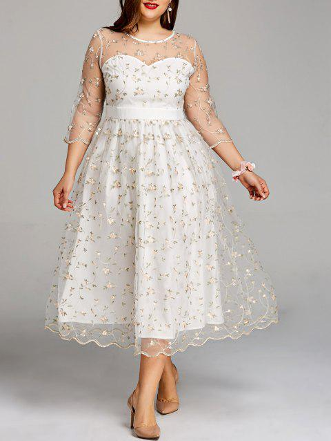 41% OFF] 2019 Plus Size Sheer Embroidery Tiny Floral Tulle Dress In ...