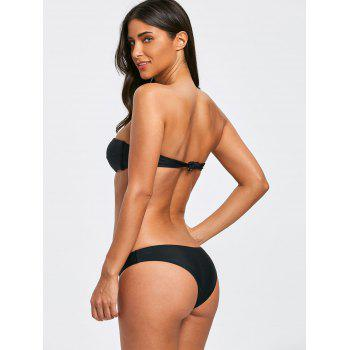 Bandeau Thong Low Waist Bikini Set - BLACK S