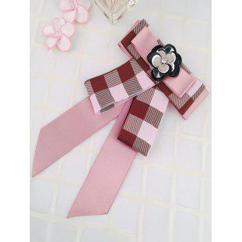 Floral Checked Pattern Bow Collar Brooch - PINK