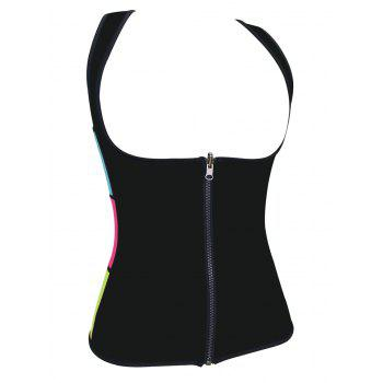 Plus Size Under Bust Zip Up Sauna Vest - BLACK 3XL
