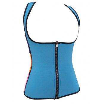 Plus Size Under Bust Zip Up Sauna Vest - BLUE 3XL