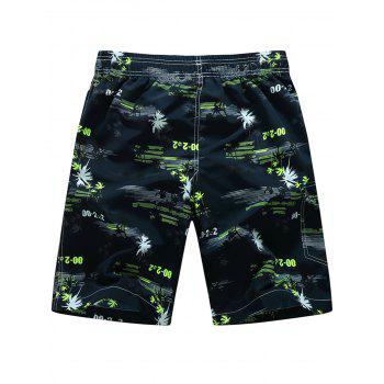 Coconut Tree Printed Hawaiian Shorts - NEON GREEN 4XL