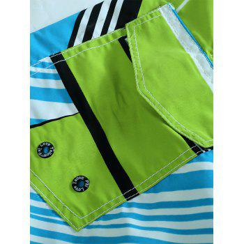 Color Splicing Sports Beach Shorts - GREEN 2XL