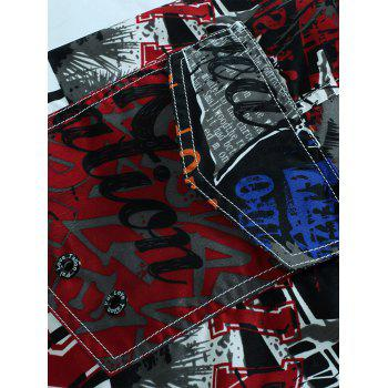 Drawstring Graphic Print Board Shorts - RED L