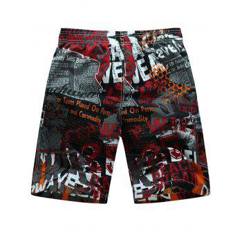 Drawstring Graphic Print Board Shorts - RED 4XL