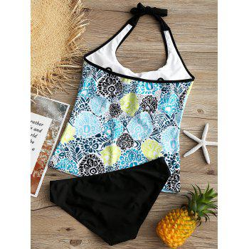 Printed Convertible Collar Backless Tankini - COLORMIX S