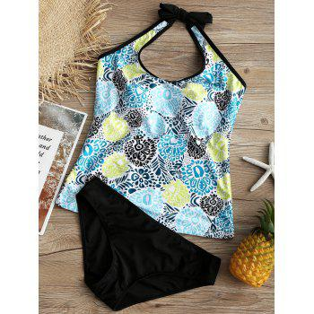 Printed U Neck Backless Tankini - COLORMIX M