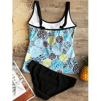 Printed Convertible Collar Backless Tankini - COLORMIX L