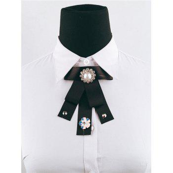 Unique Rhinestone Artificial Pearl Bowknot Collar Brooch - BLACK