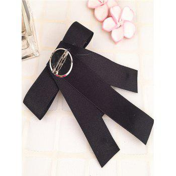 Broche unique perle artificielle perle Bowknot col - Noir