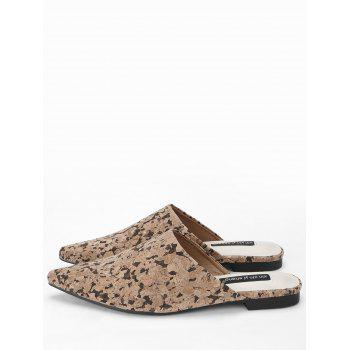 Pointed Toe Backless Mules Shoes - BROWN 40